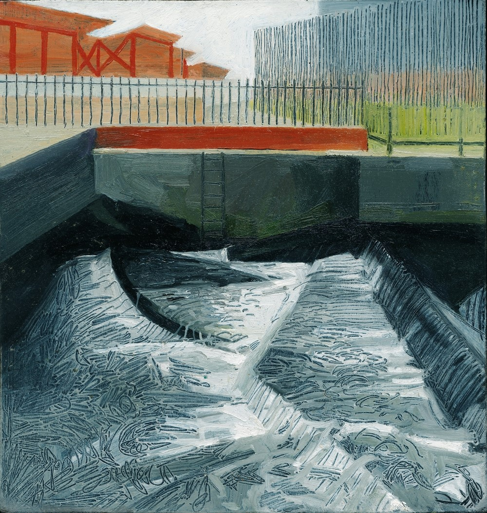 Kate Wilson The Wandle at Wandsworth small Oil on Board