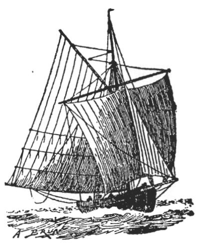 Frönsk seglskúta, svipuð Morgunroðanum sem strandaði 1818