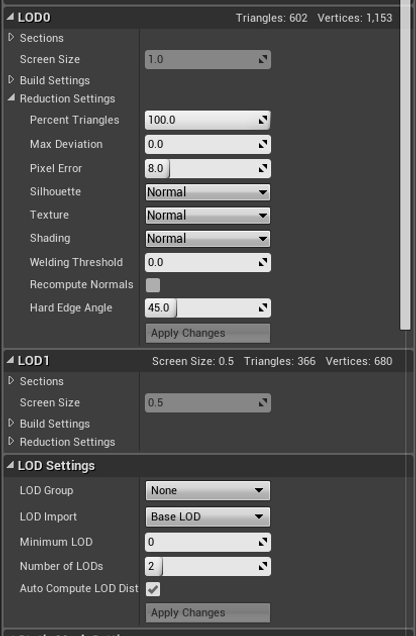 UE4 - Overview of Static Mesh Optimization Options