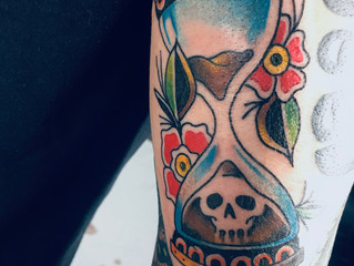 Hour Glass Skull Tattoo