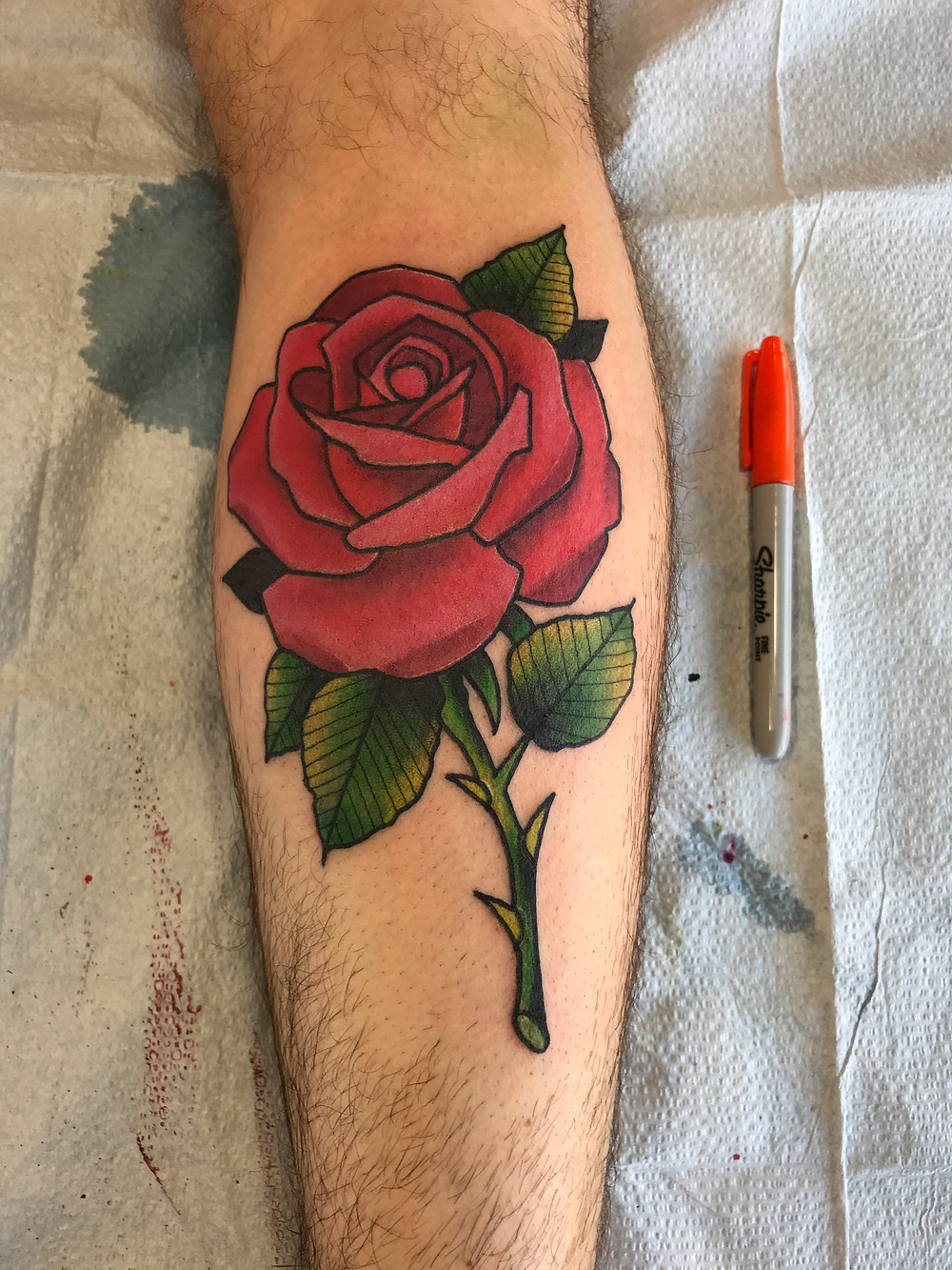 rose color tattoo
