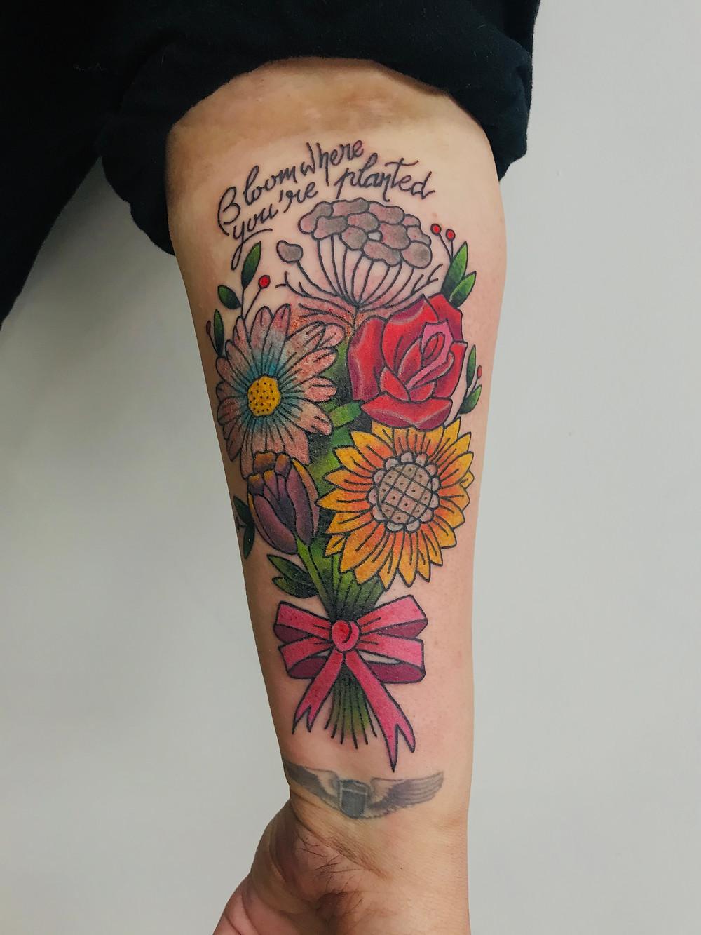 bouquet of flowers tattoo