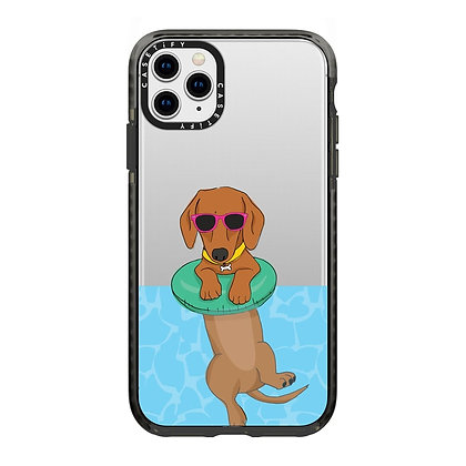 """Casetify iPhone 11 Pro Max 6.5"""" Impact Case, Swimming Dachshund"""