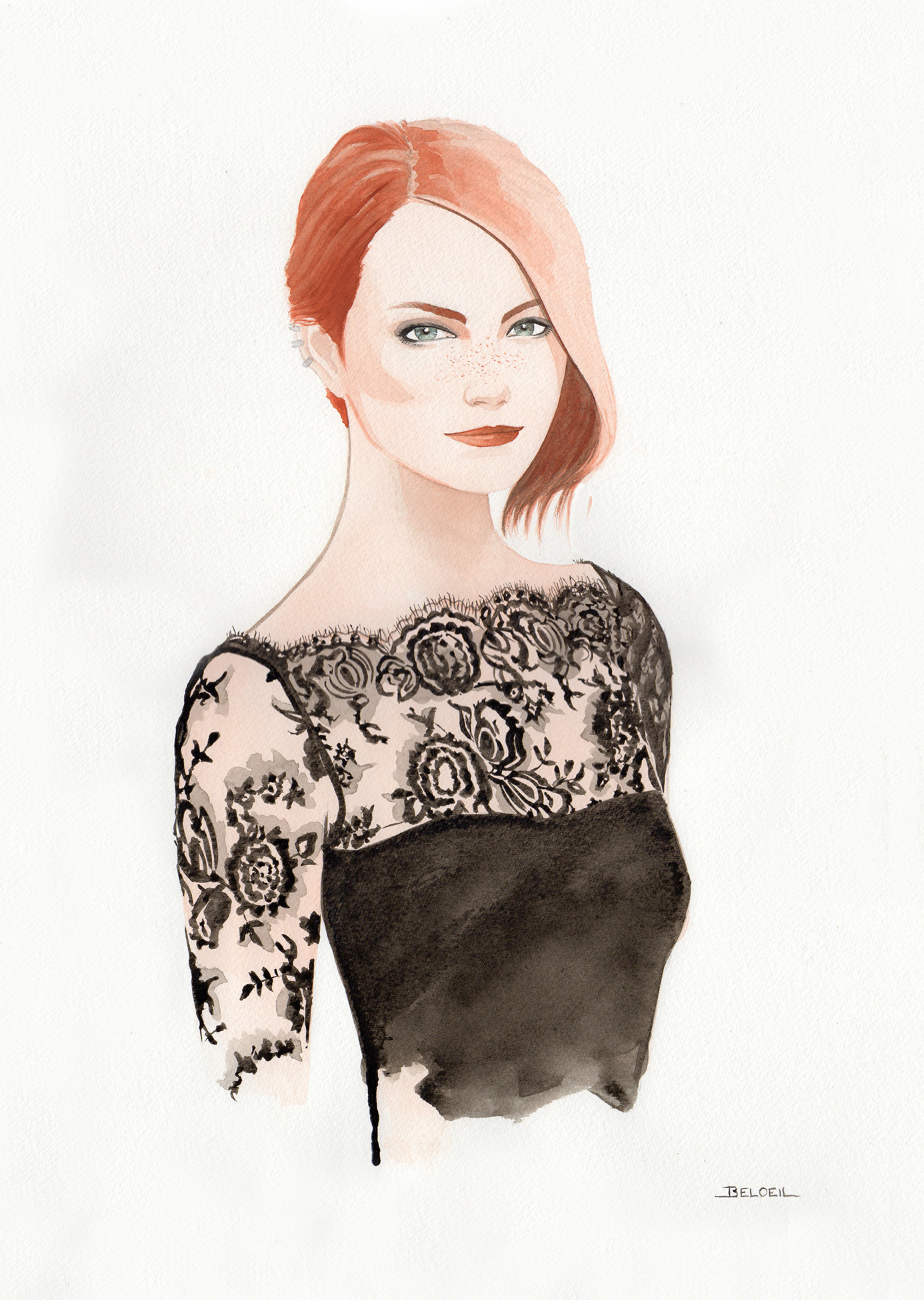 Luxury lingerie Camille Roucher Paris  drawn by Geoffrey Beloeil, illustrator & storyboard artist. Fashion illustration.