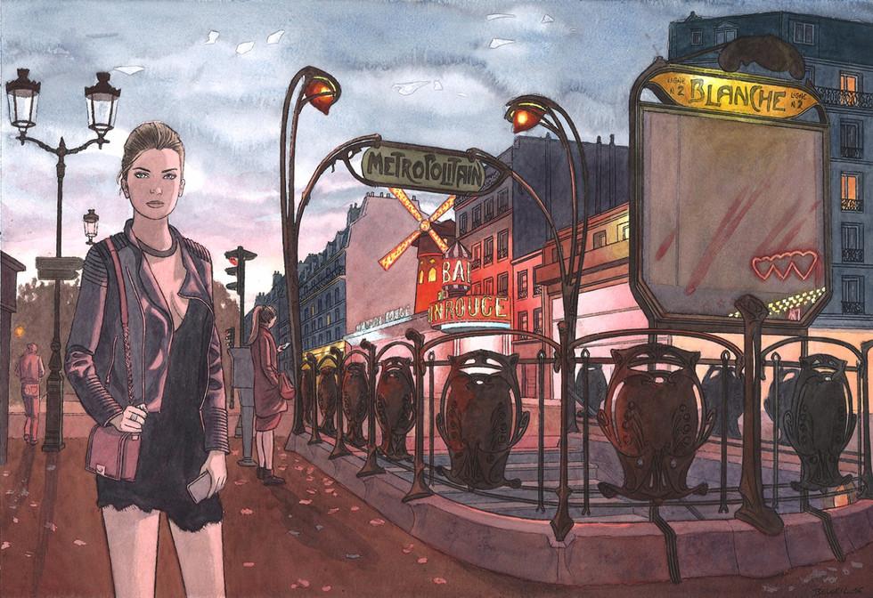 Moulin Rouge, Paris. Night Lights une série de Geoffrey Beloeil, illustrateur & storyboarder.