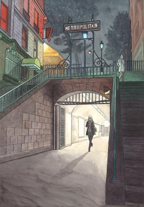 Metro Lamarck-Caulaincourt, Paris. Night Lights une série de Geoffrey Beloeil, illustrateur & storyboarder.