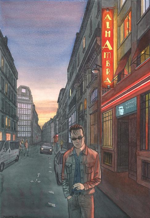 Richard Hawley à l'Alhambra, Paris. Night Lights une série de Geoffrey Beloeil, illustrateur & storyboarder.