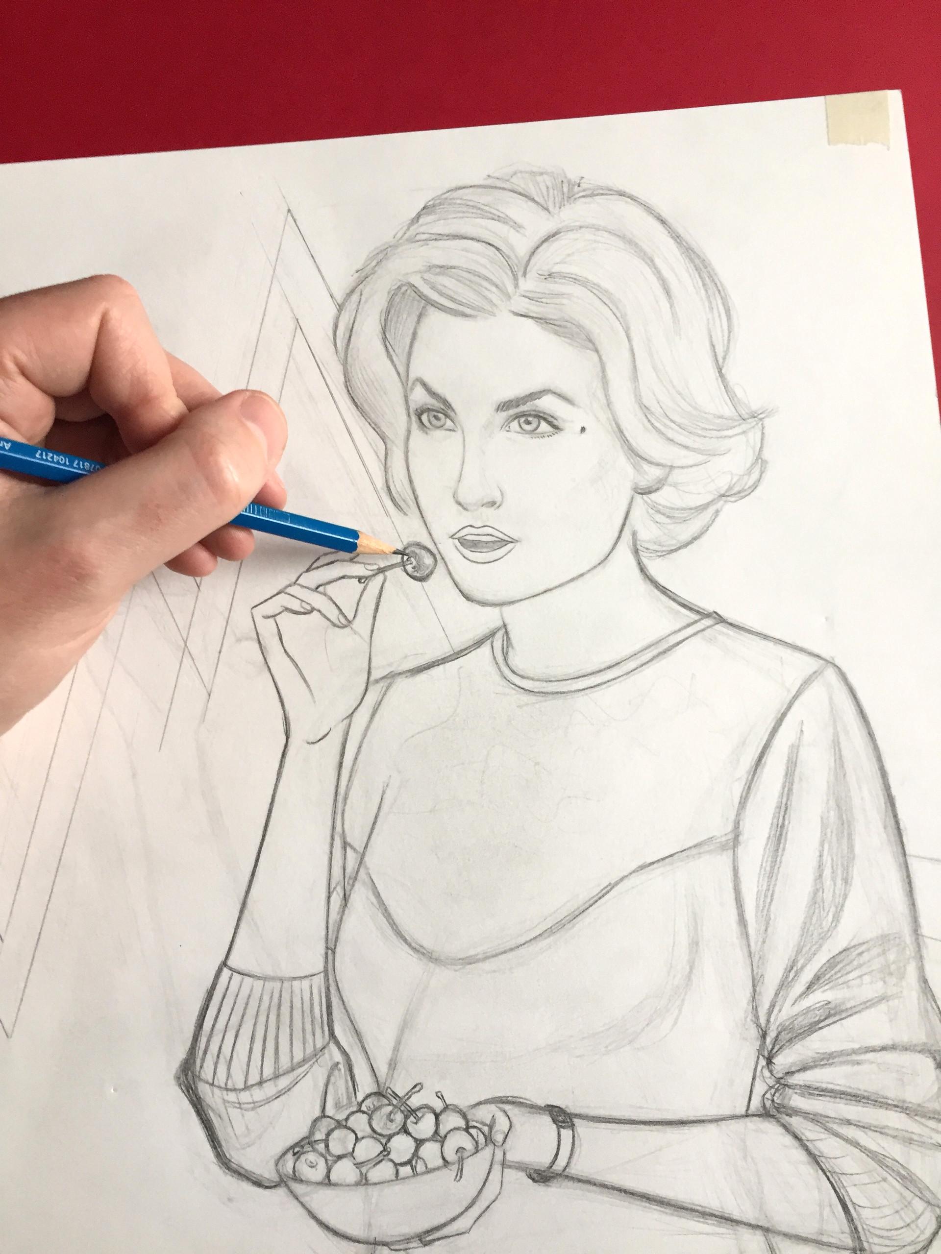 Audrey Horne - Twin Peaks in progress. IIlustration © GeoffreyBeloeil