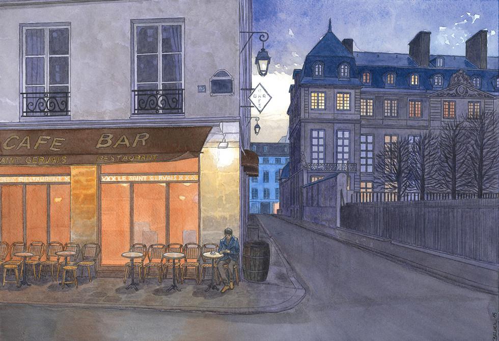 Rue Vieille du Temple, Paris. Night Lights une série de Geoffrey Beloeil, illustrateur & storyboarder.