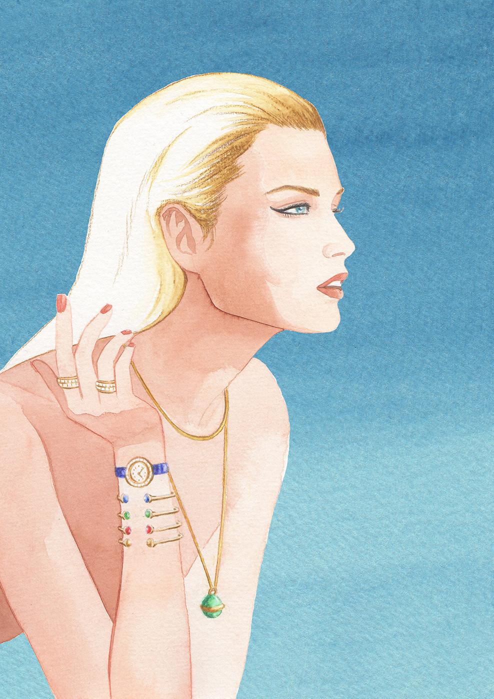 Piaget Possession new campaign featuring Doutzen Kroes illustration by Geoffrey Beloeil