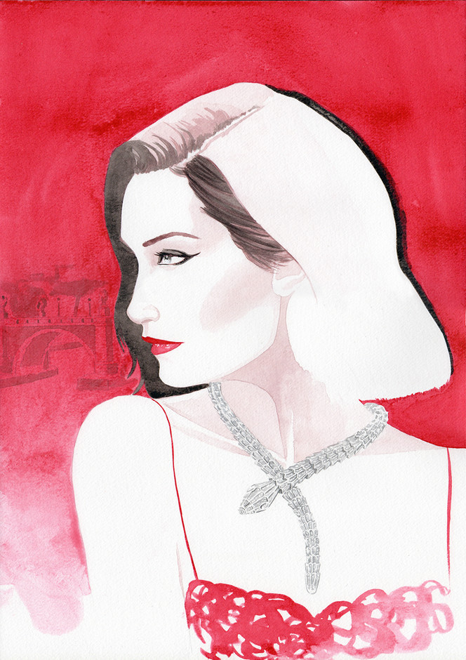 Bella Hadid wearing Bulgari serpenti necklace, illustration by Geoffrey Beloeil, illustrateur & storyboarder Paris.