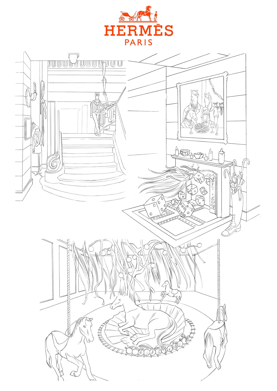 Rough Hermès réalisé par Geoffrey Beloeil, illustrateur, storyboarder & roughman Paris.