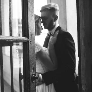 Newlyweds enjoying an intimate moment