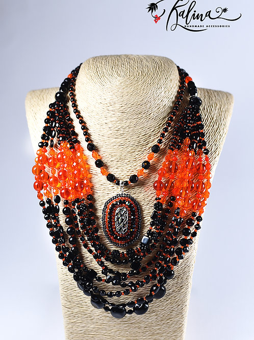 """Elegant ethnics"", Orange and black"