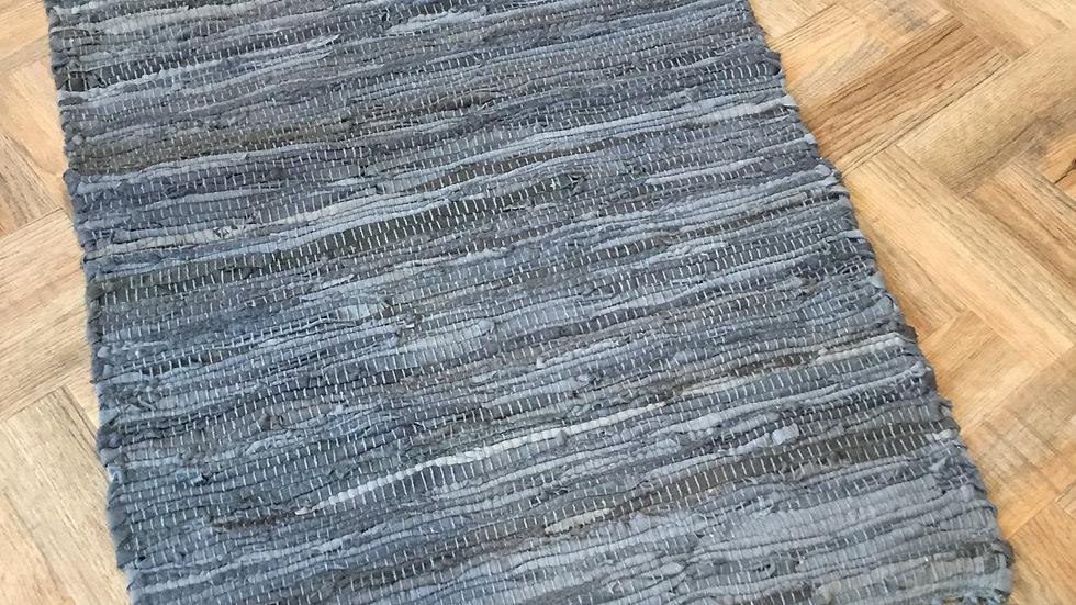 Dark Grey Leather Rug