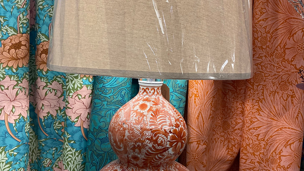 Orange Bulbous  Patterned Lamp