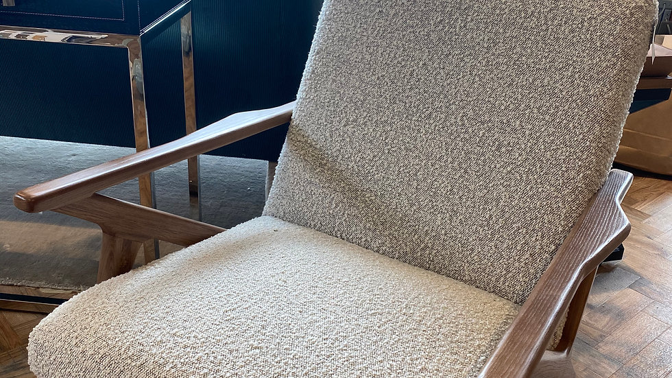 Wooden Frame Chair  In Boucle Fabri