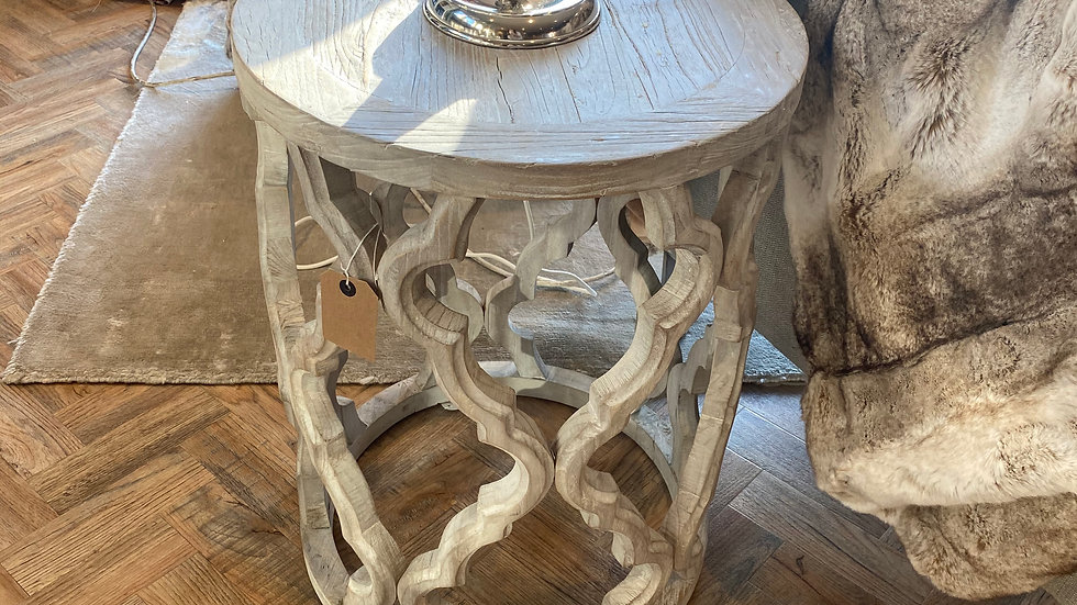 Round Fretwork End Table