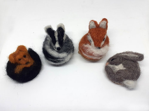 Felted sculpted animals