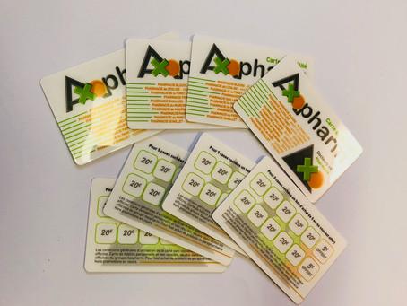 Fabrication de cartes de fidélité en PVC laminé brillant et offset en quadri recto-verso