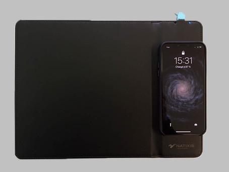 Tapis de souris chargeur sans fil en cuir avec marquage UV