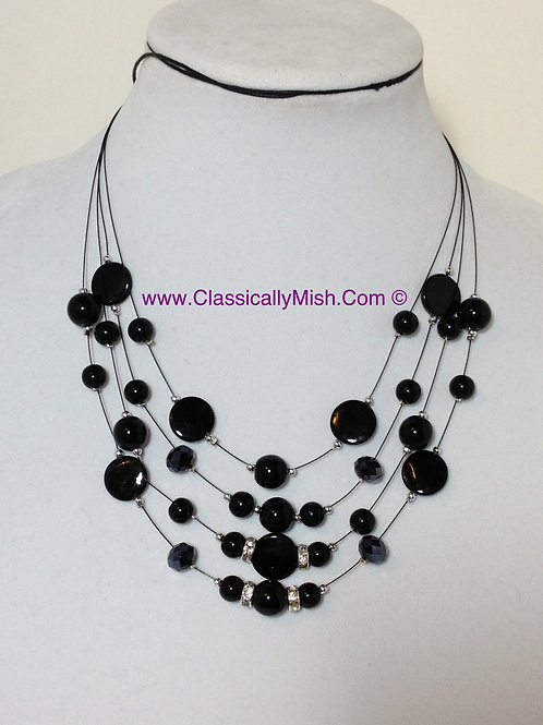 4 Tier Black MOP Nacre Necklace