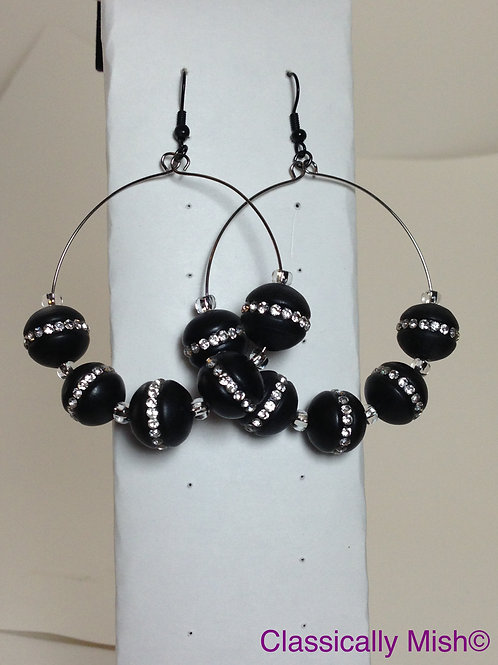 Onyx Ear Bling Hoops