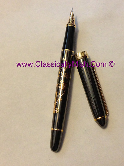 Etched Pewter Fountain Pen