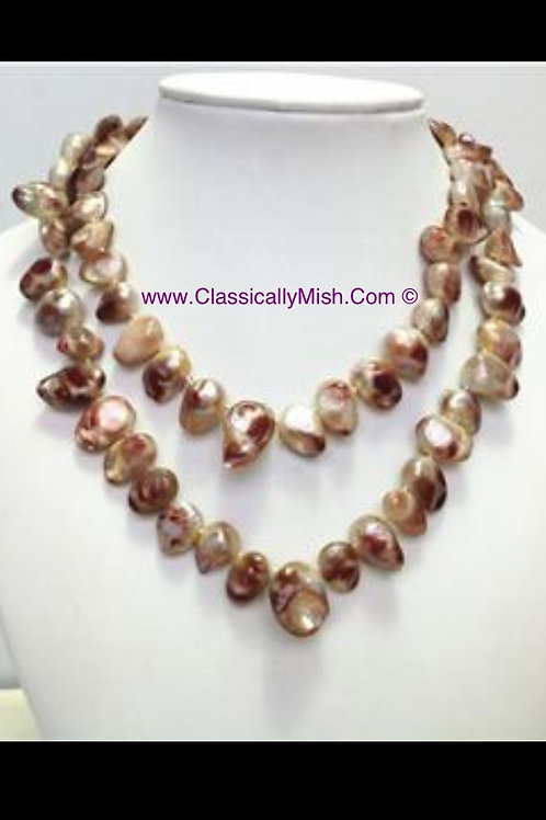 Fashion Burgundy-Brown  and Cream Pearls