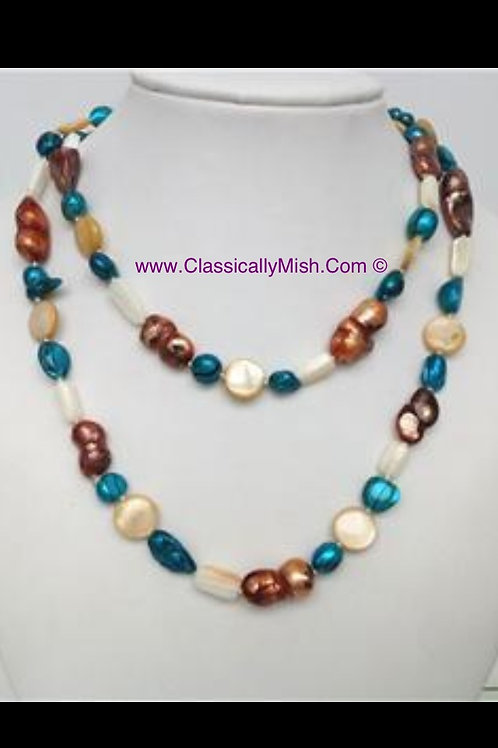 Brown, Turquoise & White Irregular Pearl Necklace
