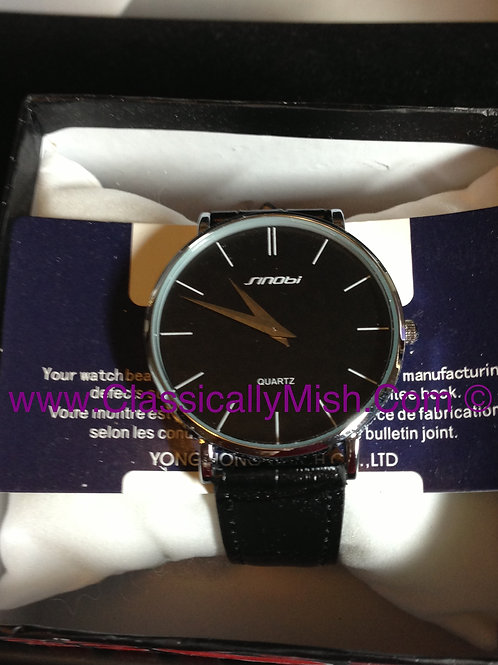 SINOBI Slim Quartz Watch (Black)