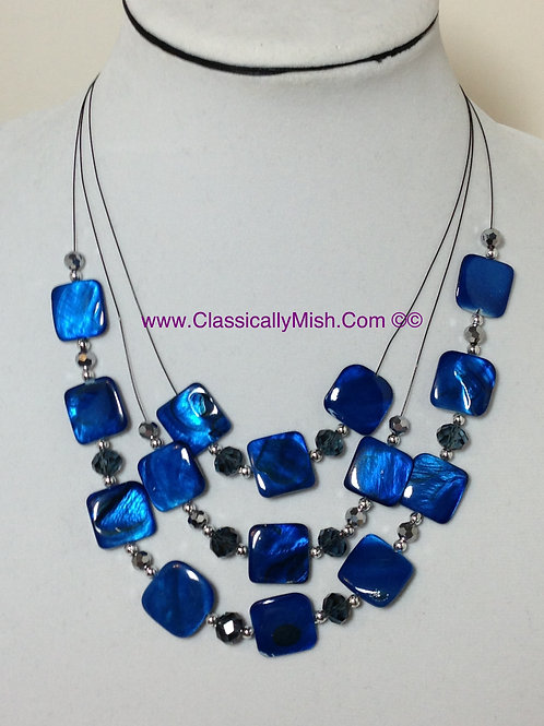 Cobalt MOP 3-tier necklace