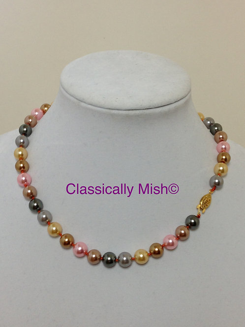 Pink, Silver Yellow, Gray & Brown Shell Necklace