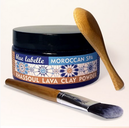 Blue Labelle Rhassoul Clay Powder With Spoon & Bamboo Brush