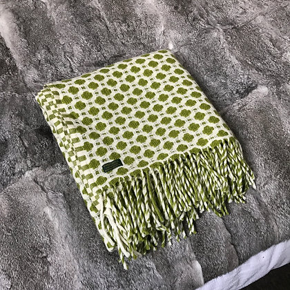 Crossroads Green and White Throw by Tweedmill