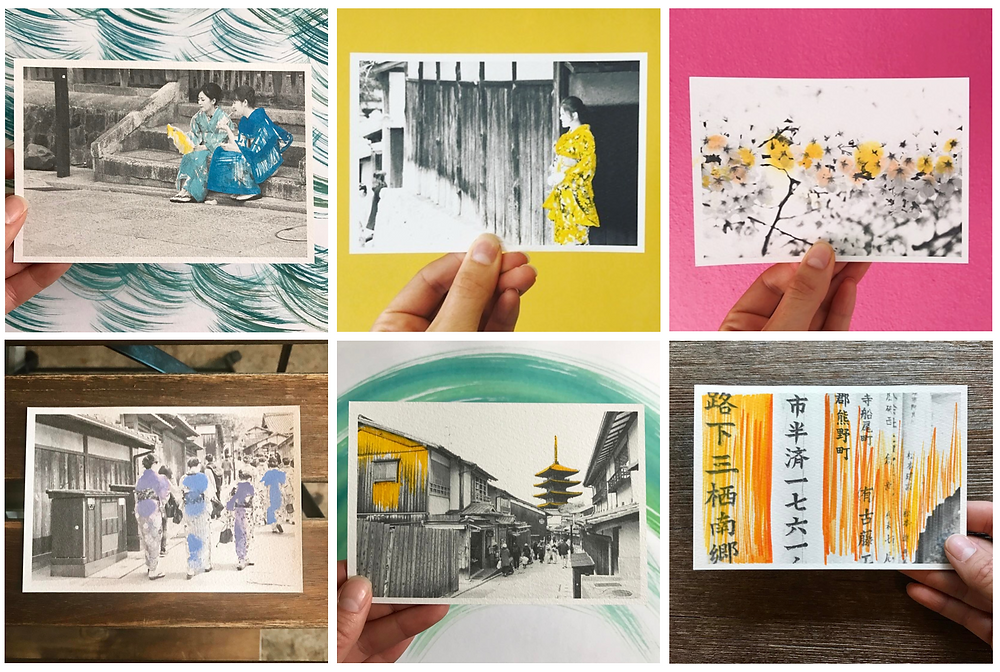 Postcard art, japan, hand painted photography