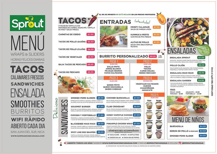 Sprout Nicaragua Menu Spanish