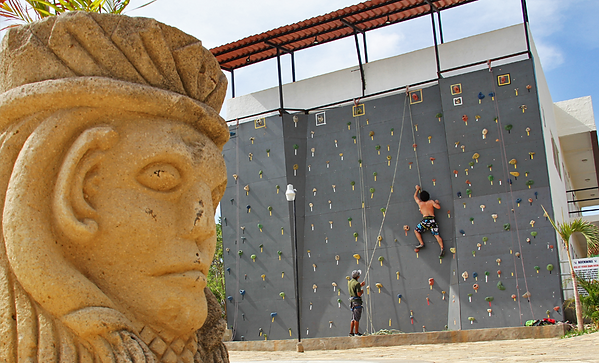 rock climbing wall in san juan del sur nicaragua, at the surf ranch hotel and resort