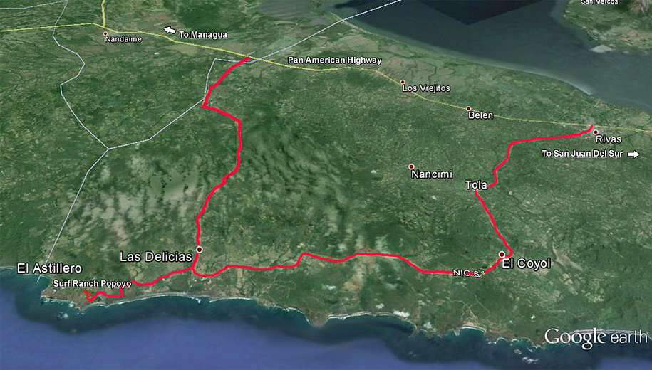 map of how to get to popoyo, nicaragua