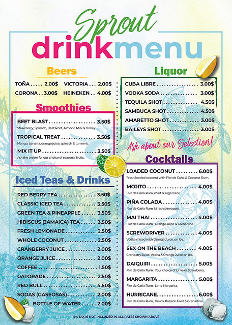 Sprout Nicaragua Drink Menu