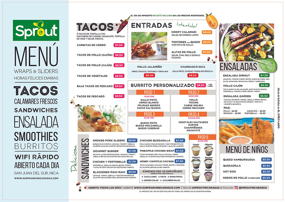 sprout nicaragua food menu surf ranch