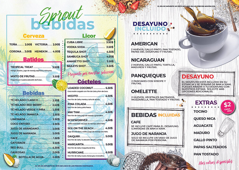 sprout nicaragua drink menu surf ranch