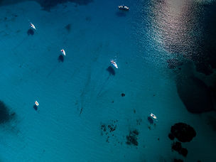 Aerial view of boats in a splendid cove