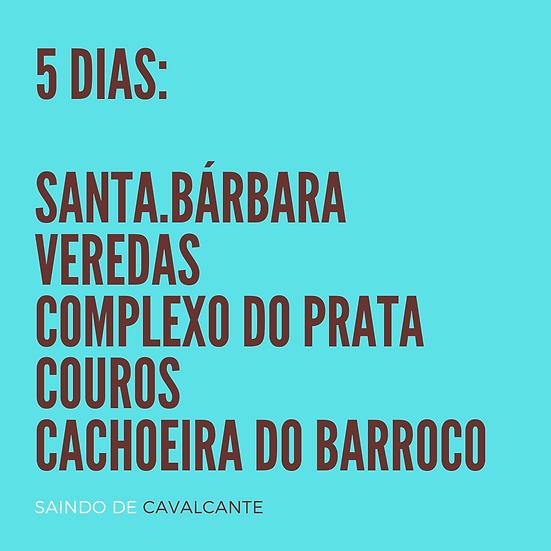 Chapada 5 dias - BASE EM CAVALCANTE - p/até 4 pessoas