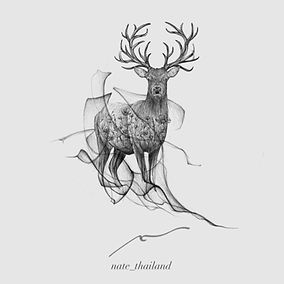 Blackwork stag tattoo design with wild flowers and flow available at Baan Khagee Tattoo Chiang Mai, Thailand