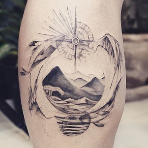 Best abstract blackwork nature tattoo at Bann Khagee Tattoo Chiang Mai, Thailand