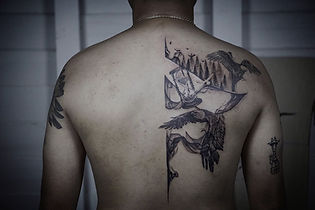Best Blackwork eagle tattoo with abstract flow by a tattooist in Chiang Mai,Thailand