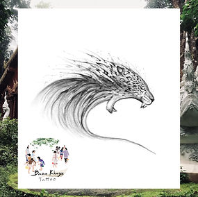 Wave tiger design available at Baan Khagee Tattoo Chiang Mai