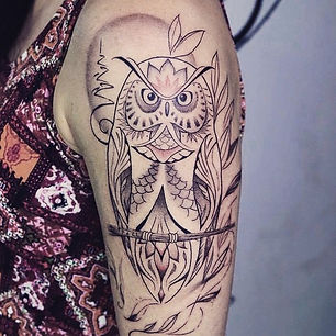 Best fine line owl tattoo at Baan Khagee Tattoo Chiang Mai