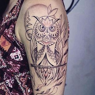 Best fine line owl tattoo at Baan Khagee Tattoo Chiang Mai